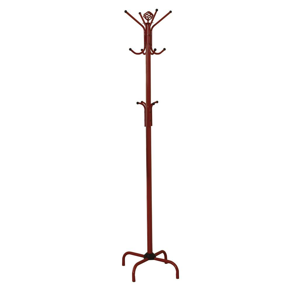 "Coat Rack - 70""H / Red Metal"