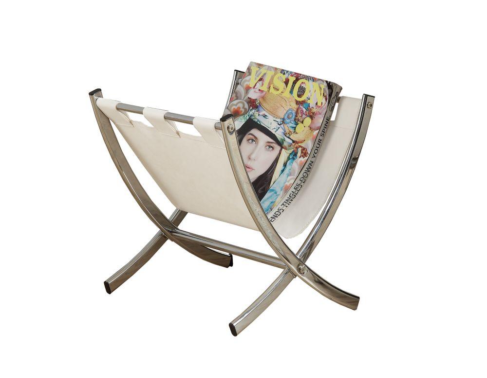 Monarch Specialties Magazine Rack - White Leather-Look / Chrome Metal