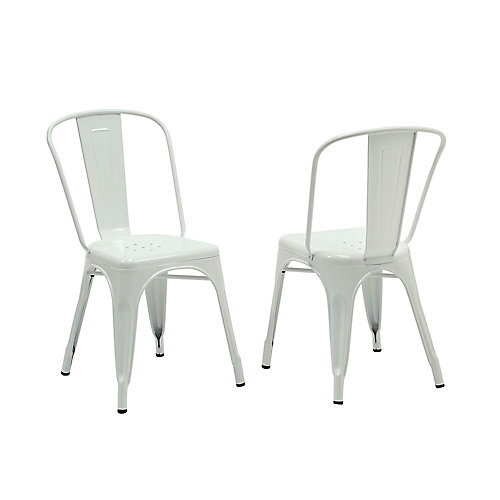 Metal White Cross Back Armless Dining Chair with White Metal Seat - (Set of 2)