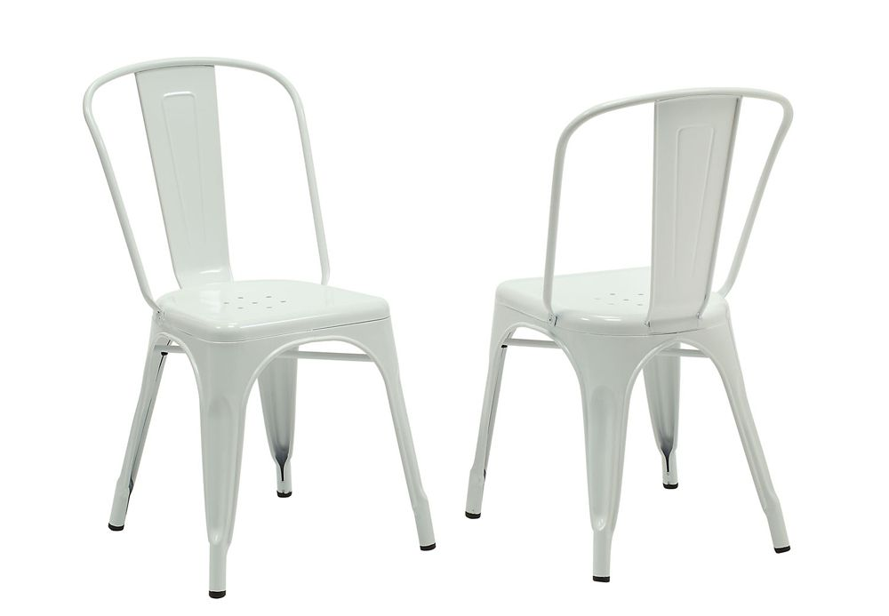 Metal White Cross Back Armless Dining Chair with White Metal Seat - Set of 2