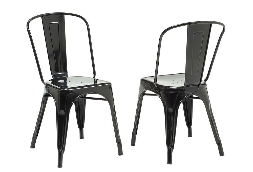 "Chaise - 2Pcs / 33""H / Metal Noir Lustre"