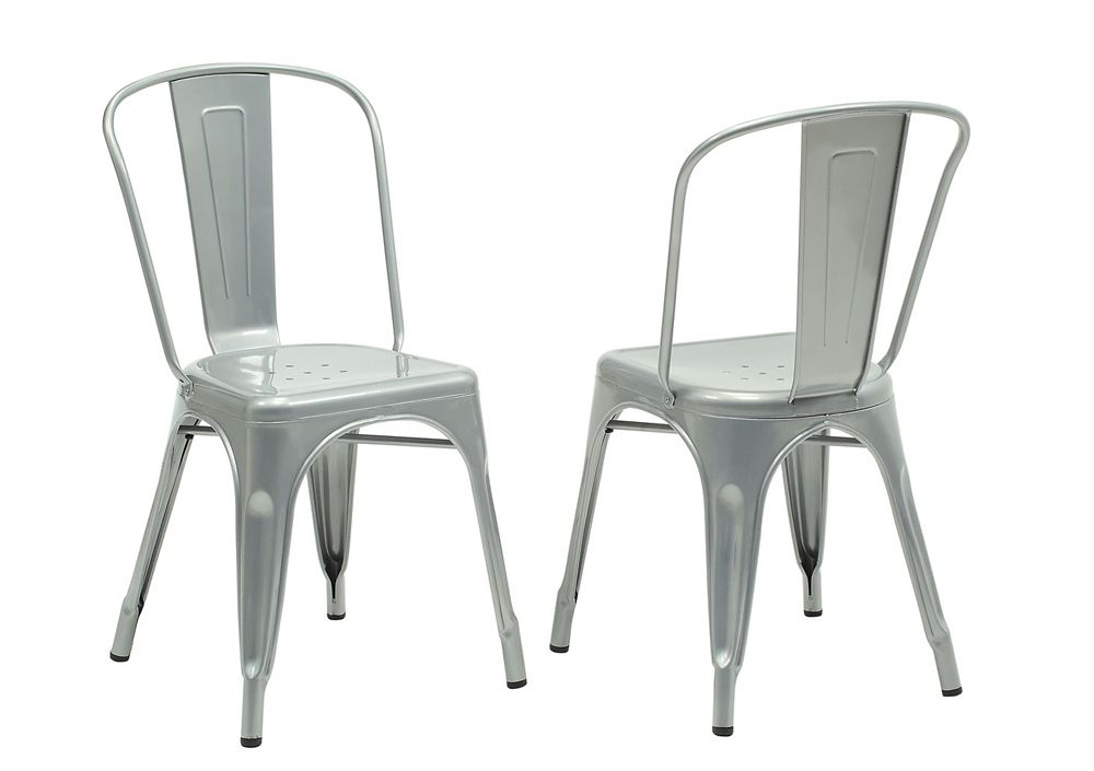33-inch H Silver Galvanized Metal Dining Chair (2-Piece)