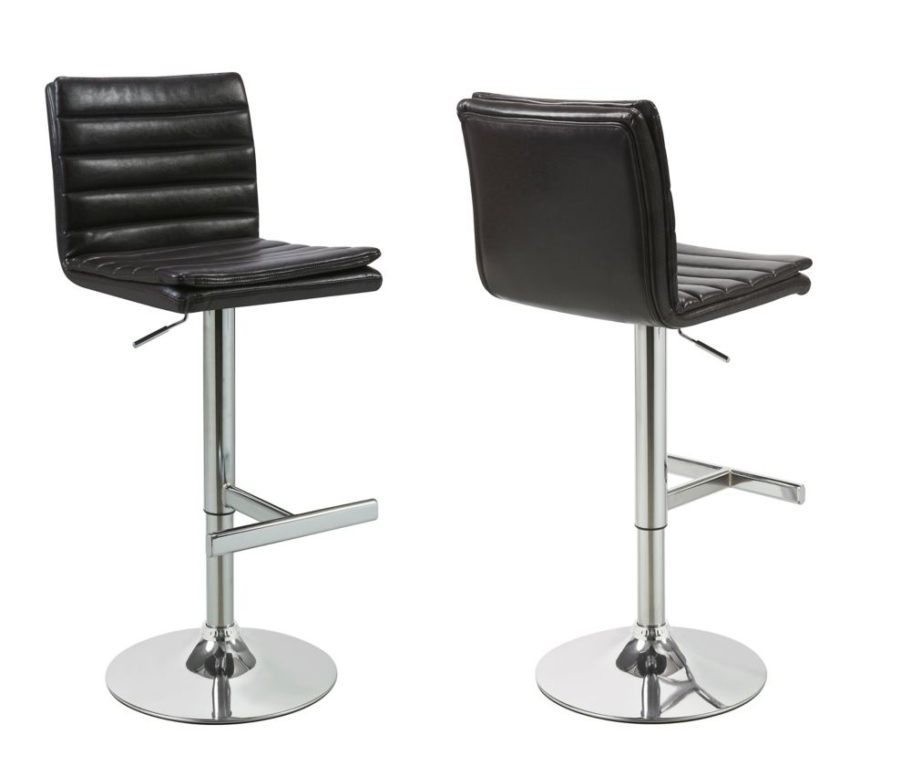Leather Metal Chrome Contemporary Full Back Armless Bar Stool with Brown Faux Leather Seat - Set of 2