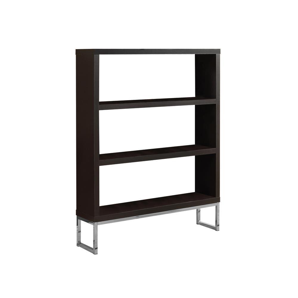 "Bookcase - 60""H / Cappuccino / Chrome Metal Room Divider"