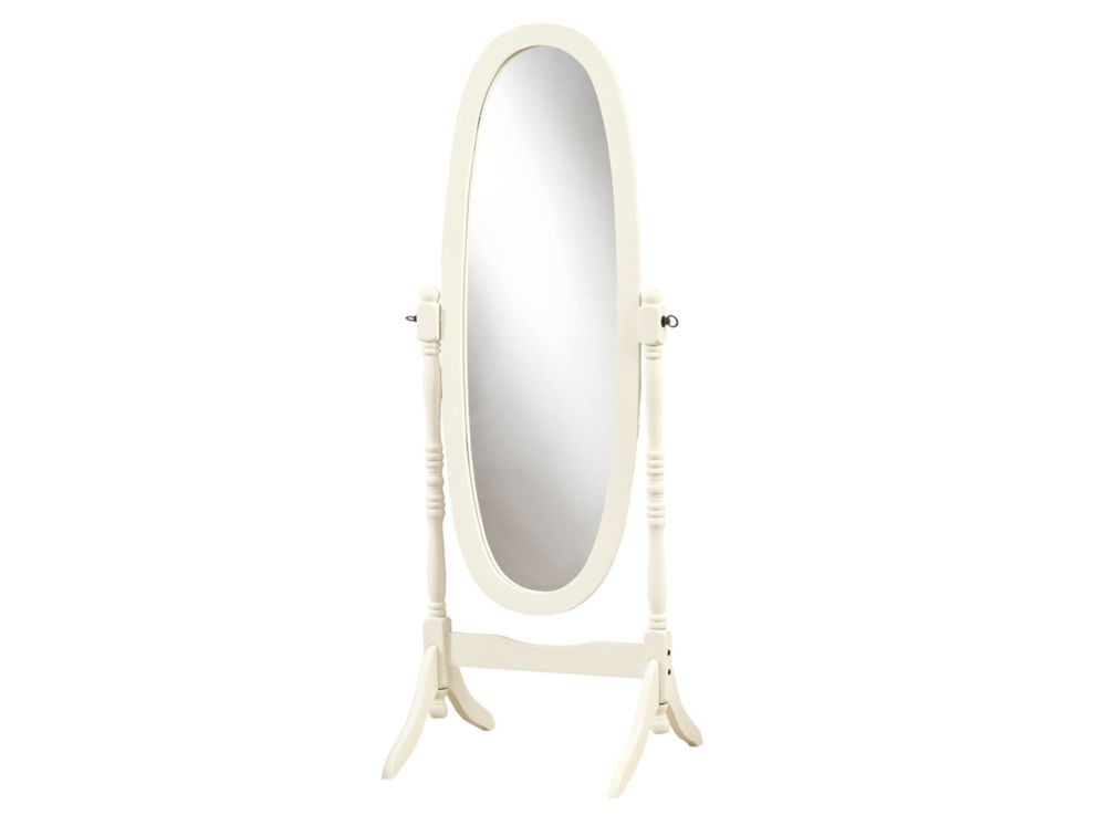 23-inch x 59-inch Wood-Framed Standing Oval Mirror in Antique White