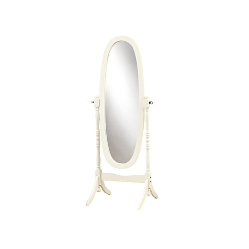 Monarch Specialties 23-inch x 59-inch Wood-Framed Standing Oval Mirror in Antique White