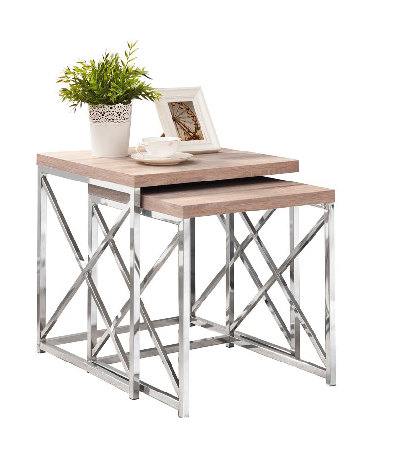 Nesting Table - 2Pcs Set / Natural With Chrome Metal I 3205 Canada Discount