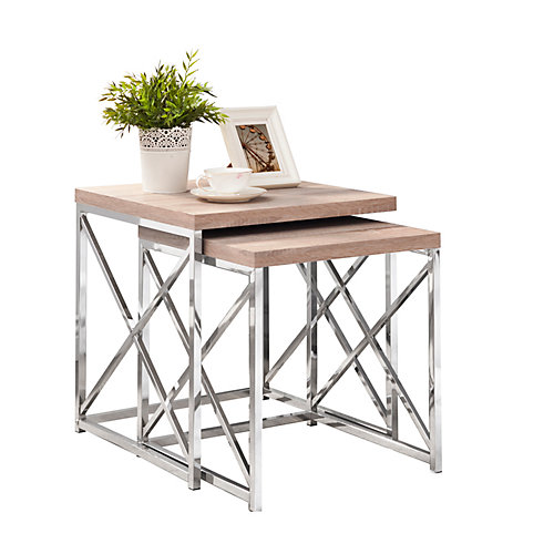 Nesting Table - 2-Piece Set / Natural With Chrome Metal