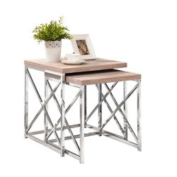 Monarch Specialties Nesting Table - 2-Piece Set / Natural With Chrome Metal