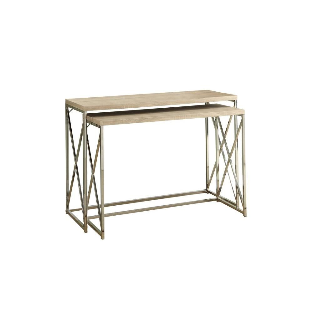 Console Table - 2Pcs / Natural With Chrome Metal I 3207 in Canada
