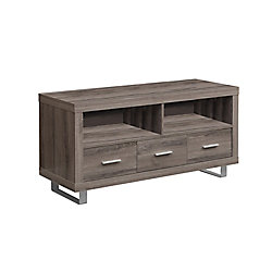 Monarch Specialties Tv Stand - 48 inch L / Dark Taupe With 3 Drawers