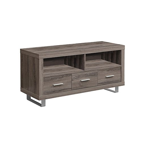 Monarch Specialties Meuble Tv - 48 po L / Taupe Fonce / 3 Tiroirs