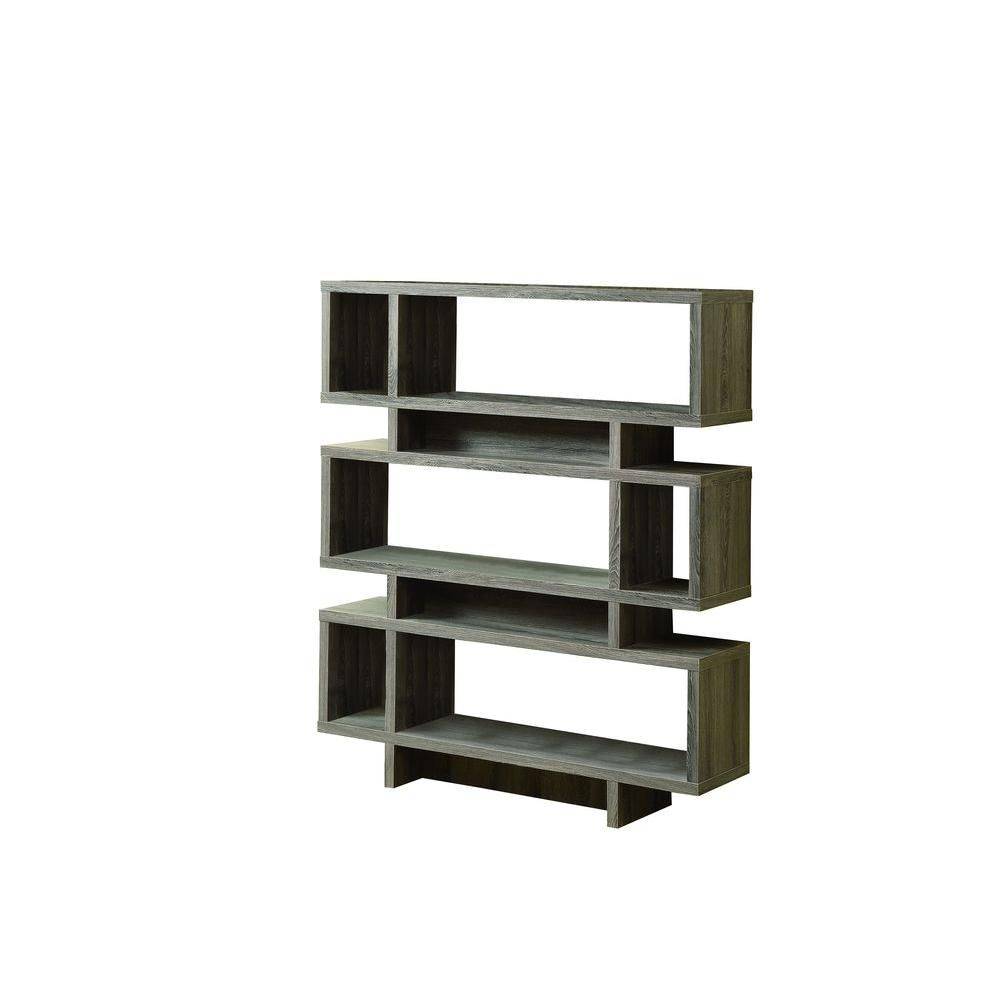 Monarch Specialties 47-inch x 55-inch x 12-inch 3-Shelf Manufactured Wood Bookcase in Grey