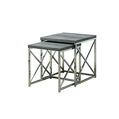 Monarch Specialties 2 Piece Nesting Table Set In Chrome Dark Taupe The Home Depot Canada