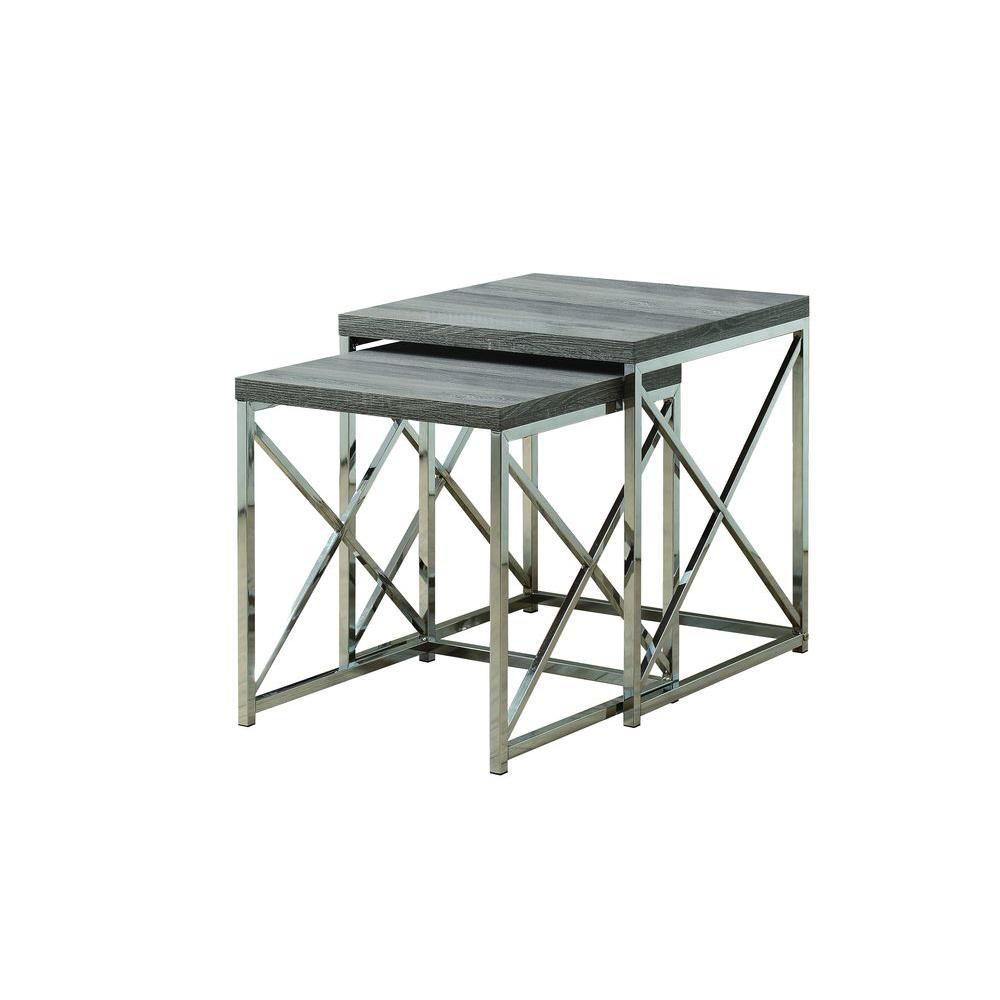 Nesting Table - 2Pcs Set / Dark Taupe With Chrome Metal