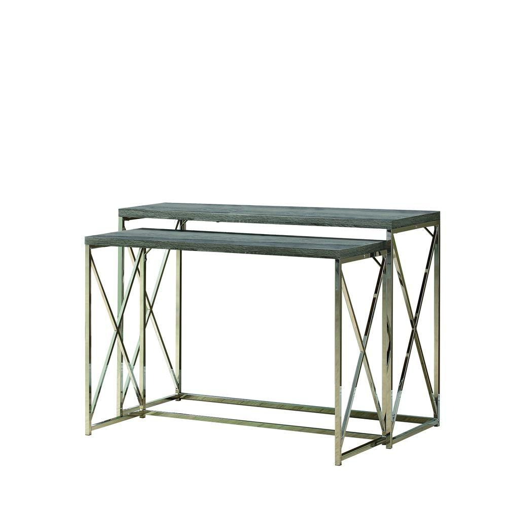 Console Table - 2Pcs / Dark Taupe With Chrome Metal