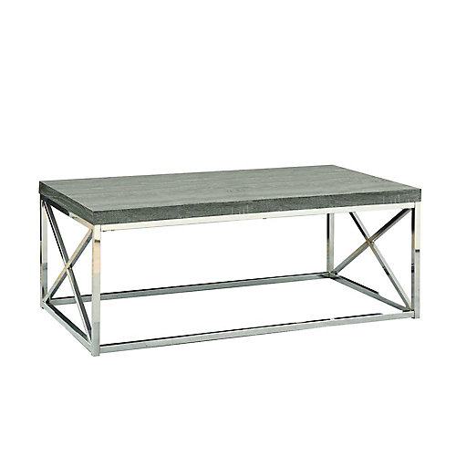 Wood-Look Coffee Table in Chrome & Dark Taupe