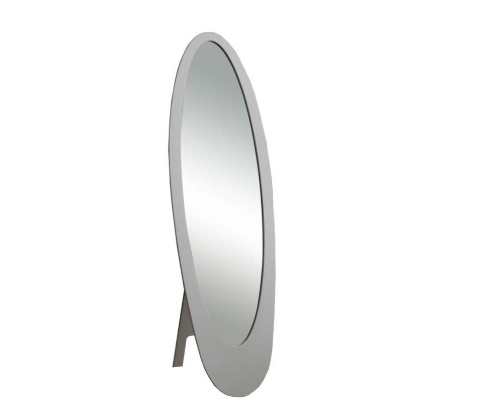 """Miroir - 59""""H / Gris / Oval Contemporain Sur Pied"""