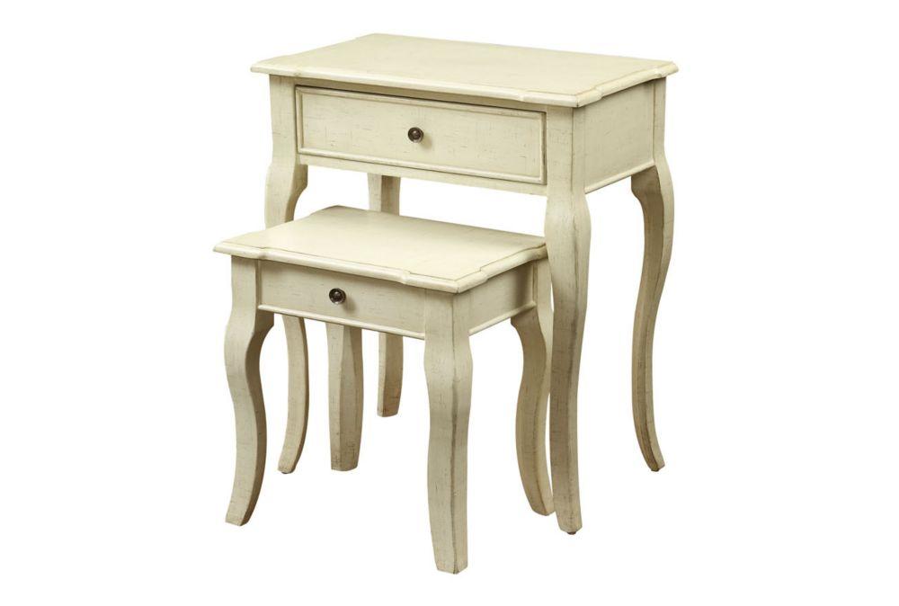Tables Gigognes - Ens. 2Pcs / Plaque Blanc Antique