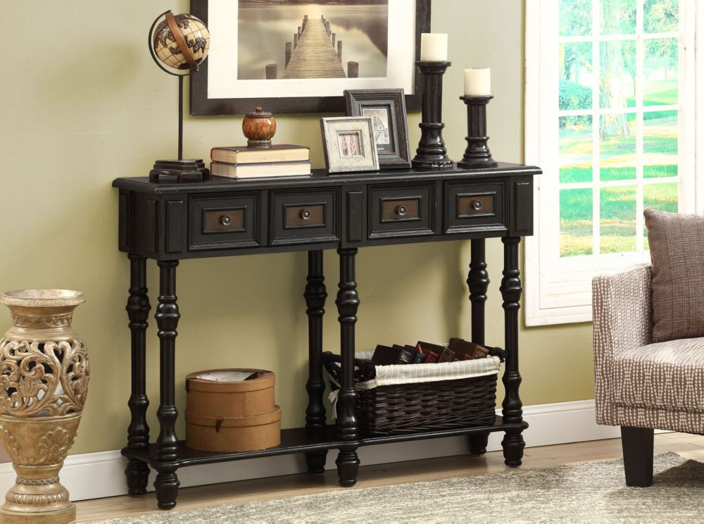 "Console Table - 48""L / Antique Black Traditional Style"