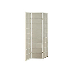 Monarch Specialties 3-Panel Folding Screen Room Divider with White Frame & Fabric Inlay