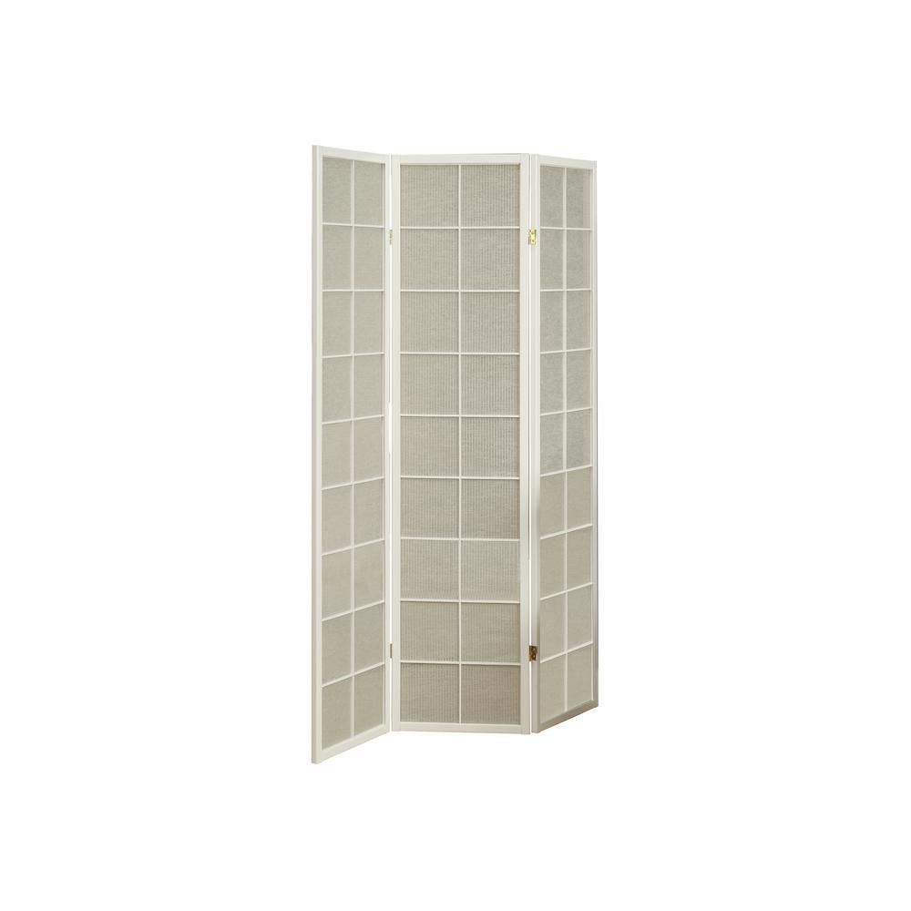 Monarch Specialties 3 Panel Folding Screen Room Divider with White