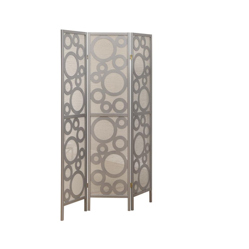 "Folding Screen - 3 Panel / Silver "" Bubble Design """