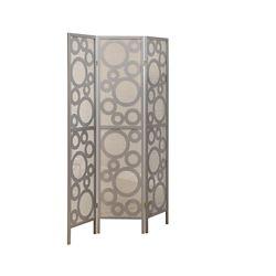"Monarch Specialties Folding Screen - 3 Panel / Silver "" Bubble Design """