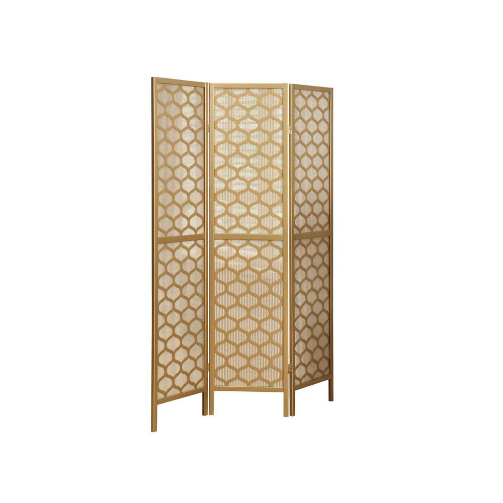 "Monarch Specialties Folding Screen - 3 Panel / Gold Frame "" Lantern Design """