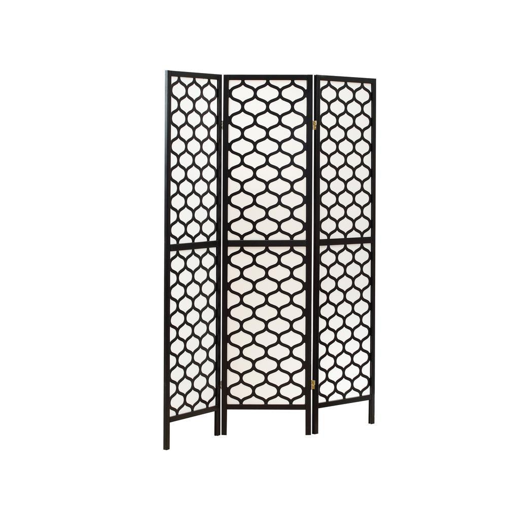"Folding Screen - 3 Panel / Black Frame "" Lantern Design """
