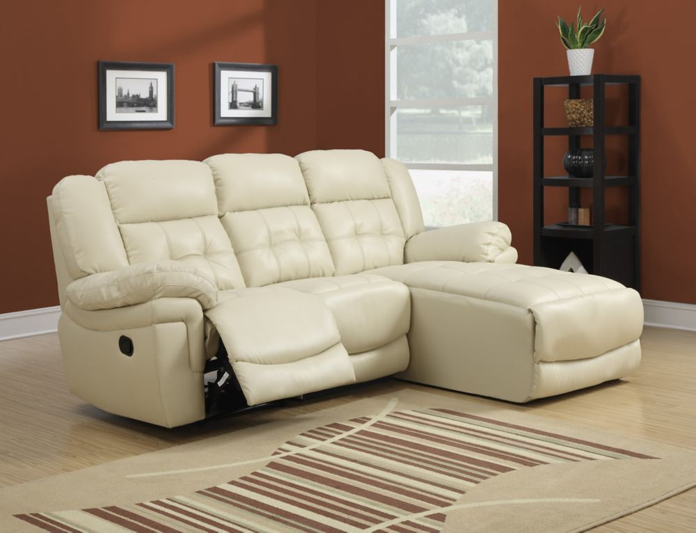 Bonded Leather Reclining Sofa Lounger � Sand