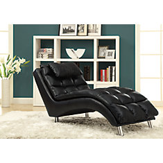 Black Leather-Look Chaise Lounger