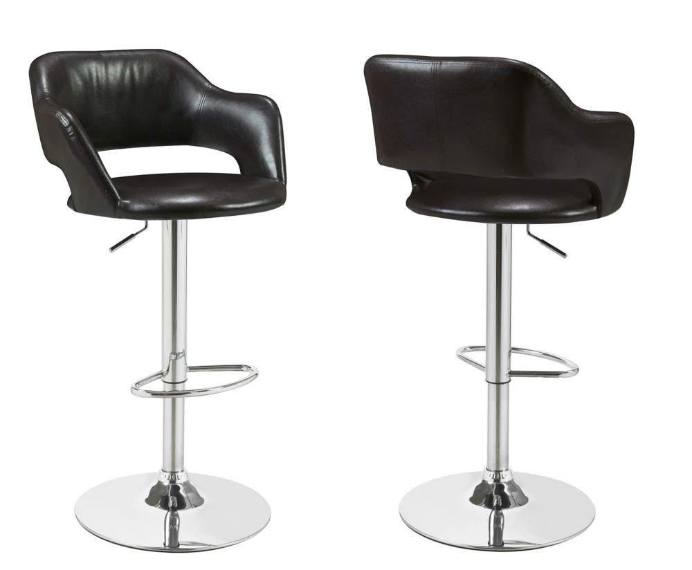 Barstool with Hydraulic Lift in Dark Brown & Chrome