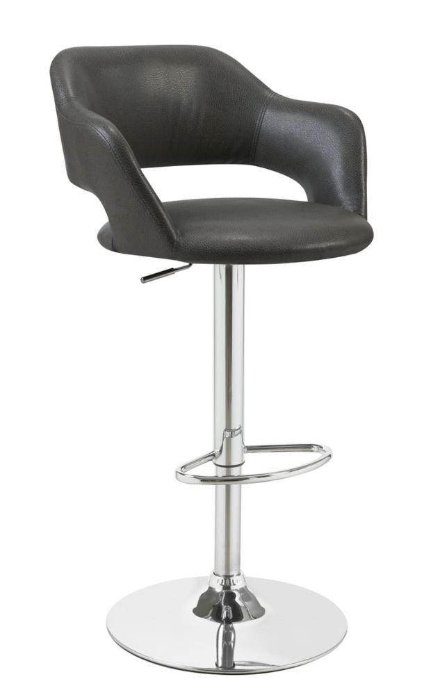 Barstool - Charcoal Grey / Chrome Metal Hydraulic