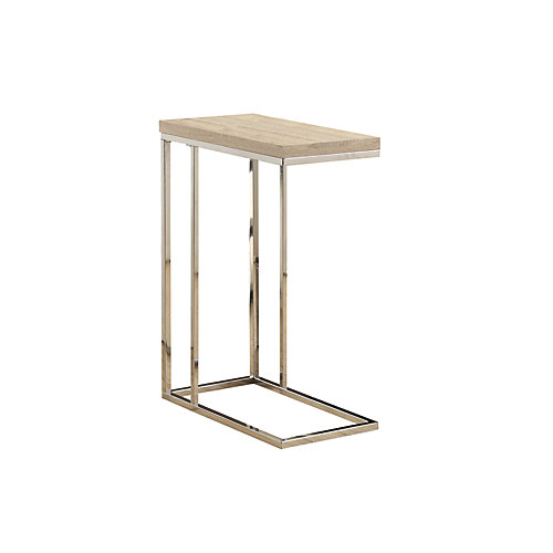 Wood-Look Accent Table in Chrome