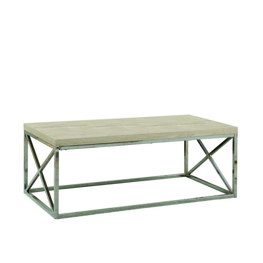 Coffee Table - Natural With Chrome Metal I 3208 Canada Discount