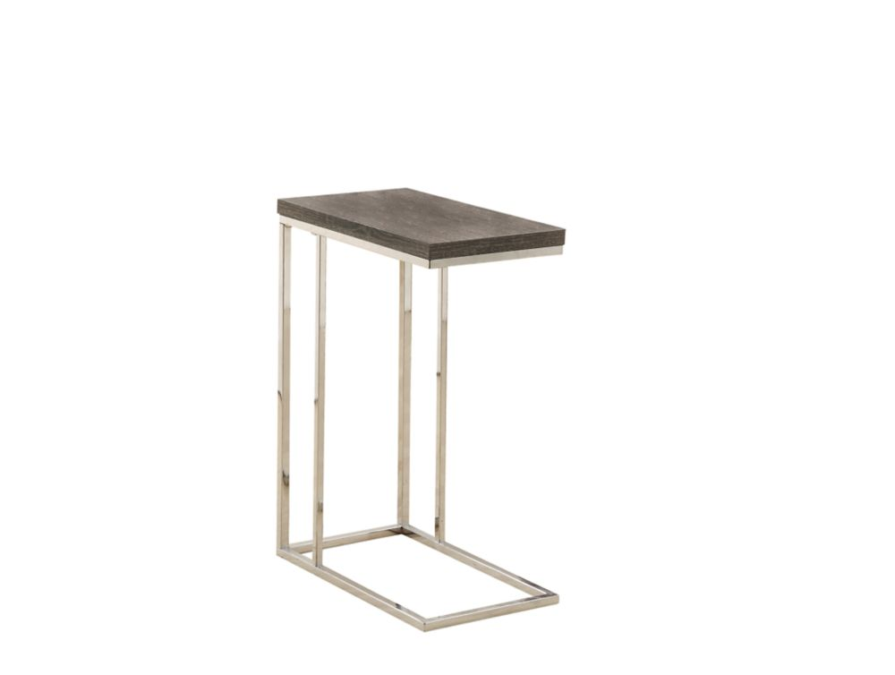 Monarch Specialties Accent Table in Chrome & Dark Taupe