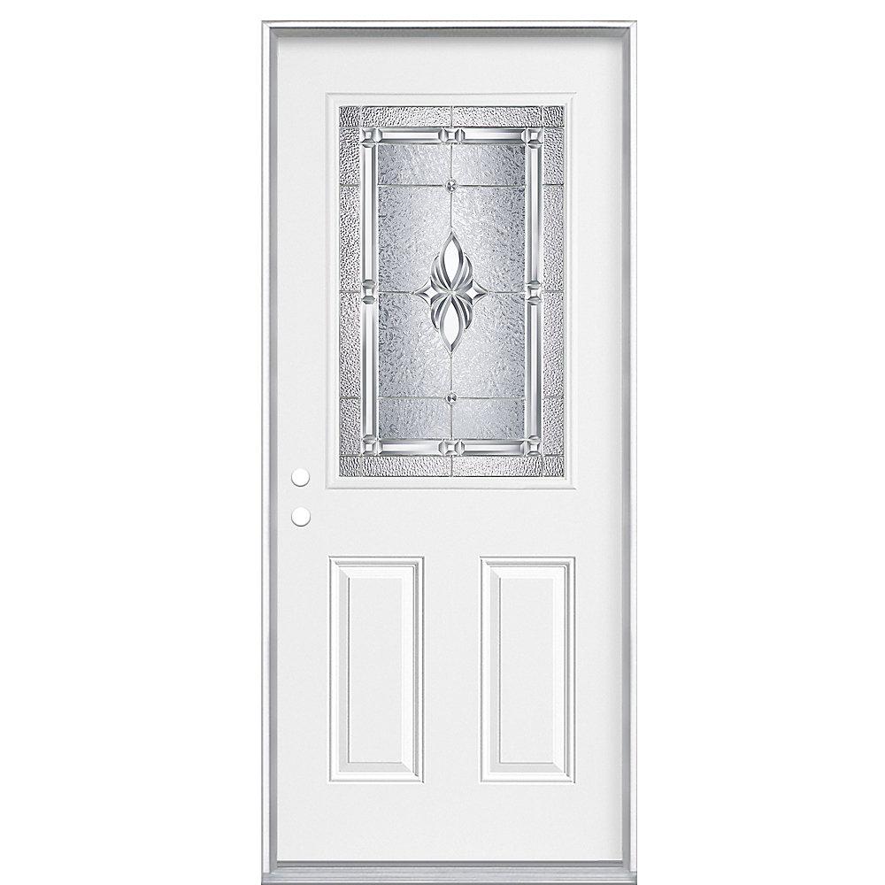 34-inch x 80-inch x 7 1/4-inch Nickel 1/2-Lite Right Hand Entry Door - ENERGY STAR®