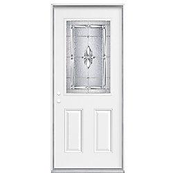 Masonite 34 Inch x 80 Inch x 7-1/4 - Porte d'entrée, Demi verre Nickel - main droite - ENERGY STAR®