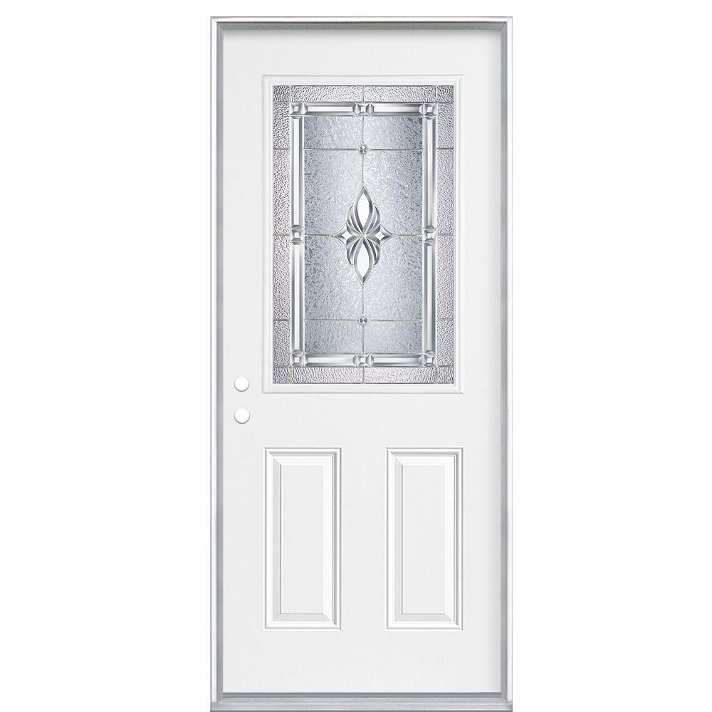 34 Inch x 80 Inch x 7-1/4 - Porte d'entrée, Demi verre Nickel - main droite