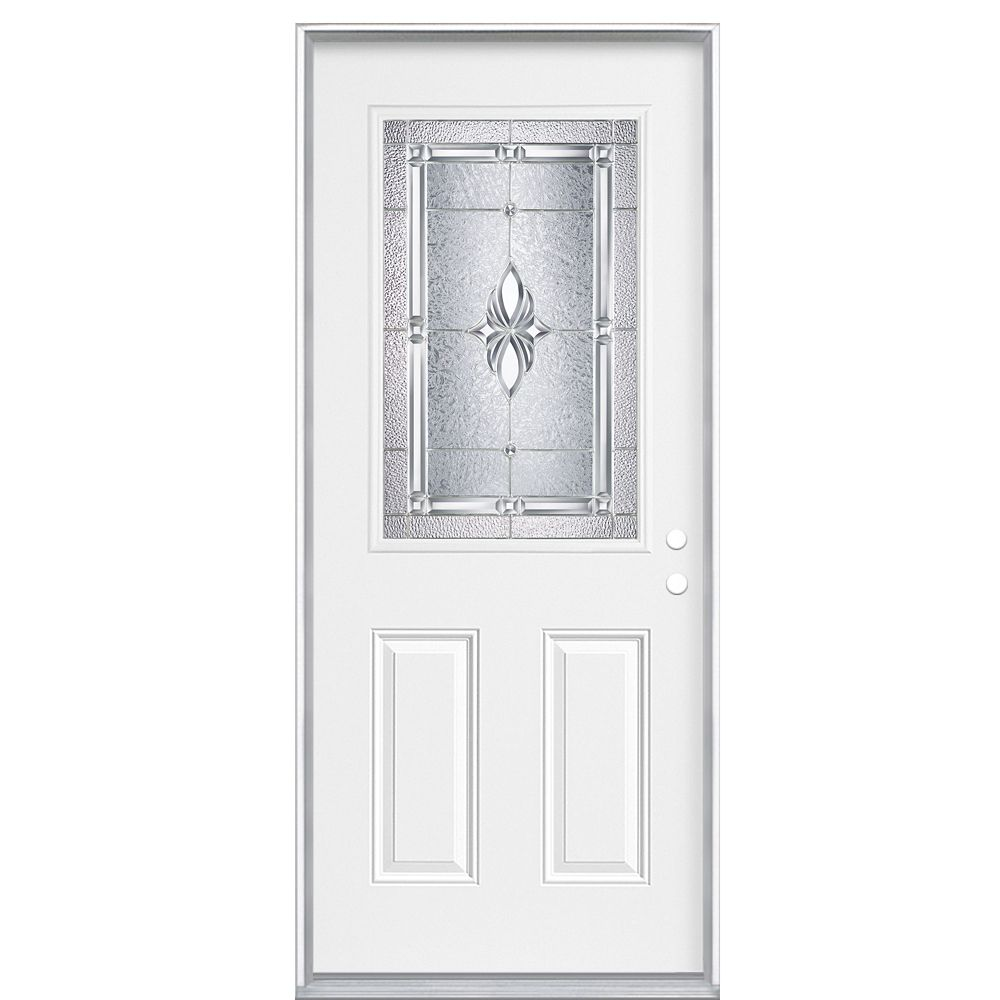 34 Inch x 80 Inch x 4 9/16 - Porte d'entrée, Demi verre Nickel - main gauche