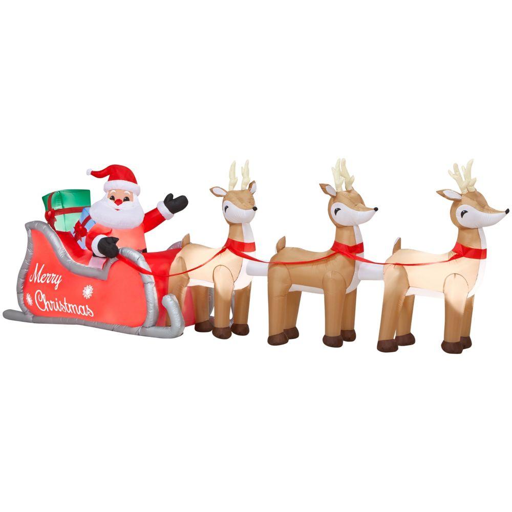 16 Feet Lighted Airblown Santa and Sleigh GIANT SIZED