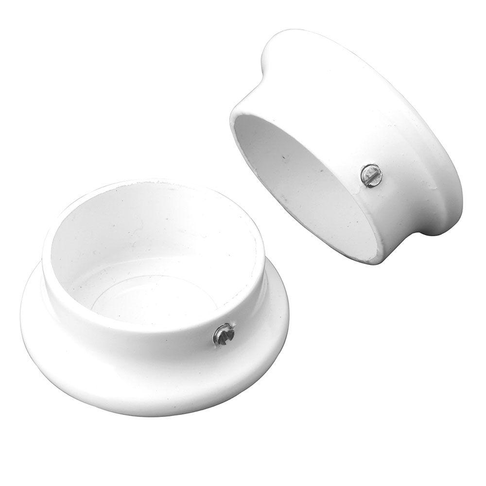 Everbilt 1-5/16 Inch White Heavy-Duty Closet Pole End Caps (2-Pack)