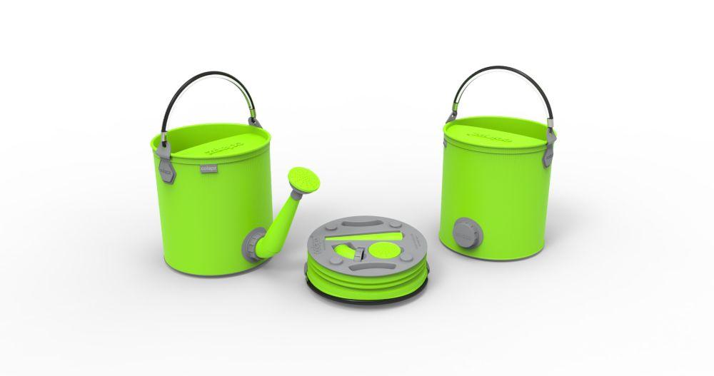 Arrosoir et seau 2 en 1pliants, de couleur vert lime