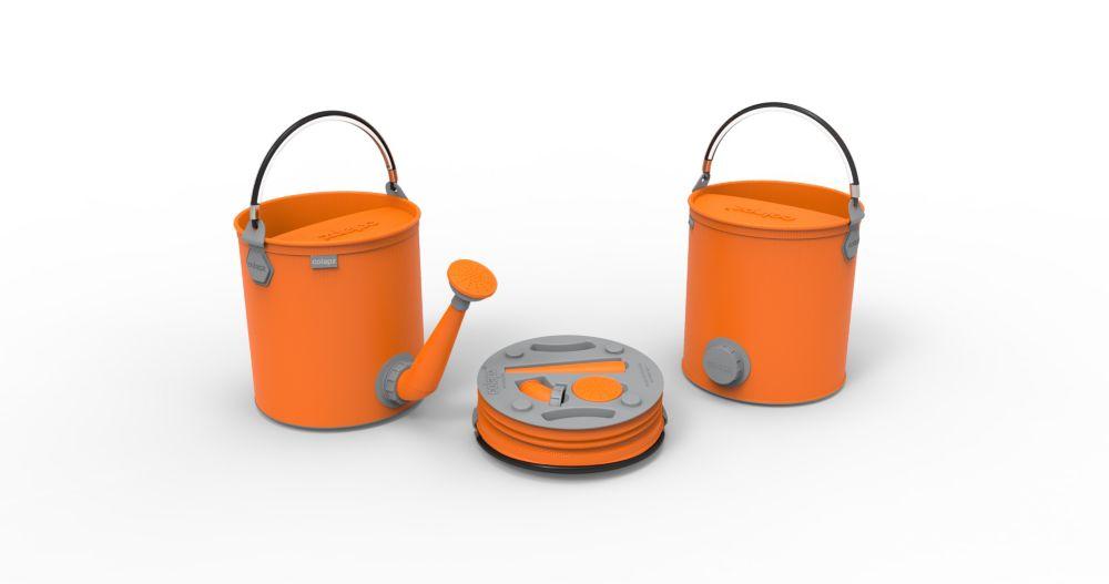 Arrosoir et seau pliants 2 en 1, de couleur orange vif