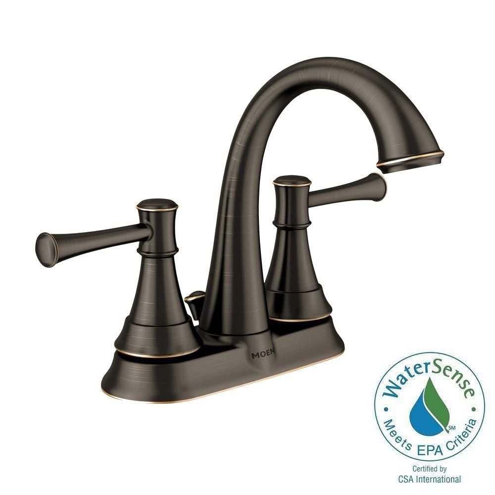7 Faucet Finishes For Fabulous Bathrooms: Moen Ashville 2 Handle Lavatory Faucet With Microban