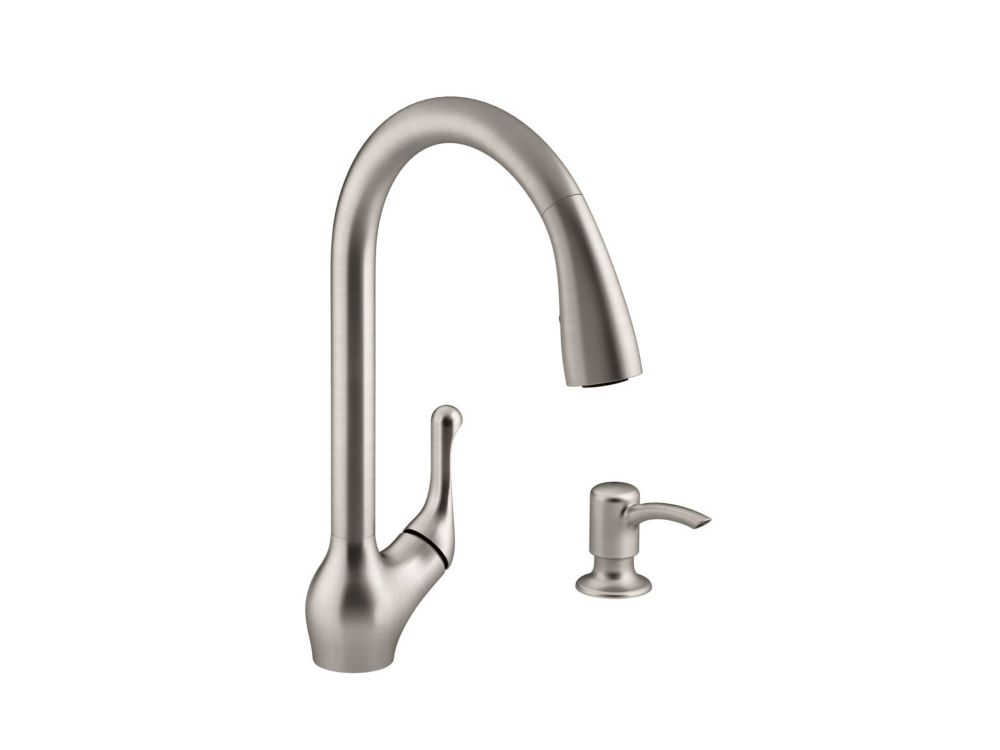 Barossa pull-down kitchen sink faucet with soap/lotion dispenser