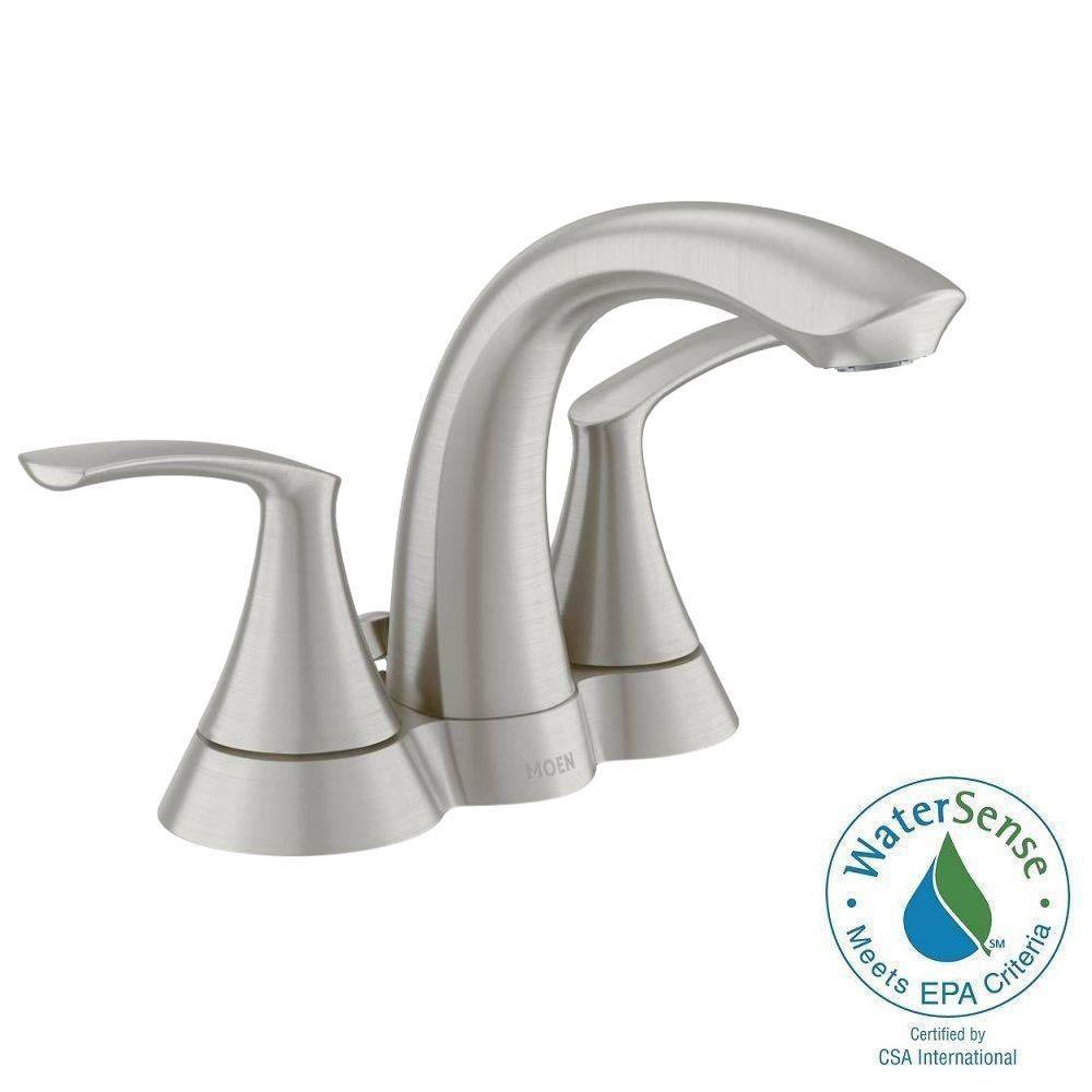 Moen Darcy 4-Inch Centerset 2-Handle High Arc Bathroom Faucet in Brushed Nickel