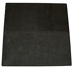 Connect-A-Rug Black Anti-fatigue Interlocking  Mat - 24 Inches x 24 Inches (4 Pack)