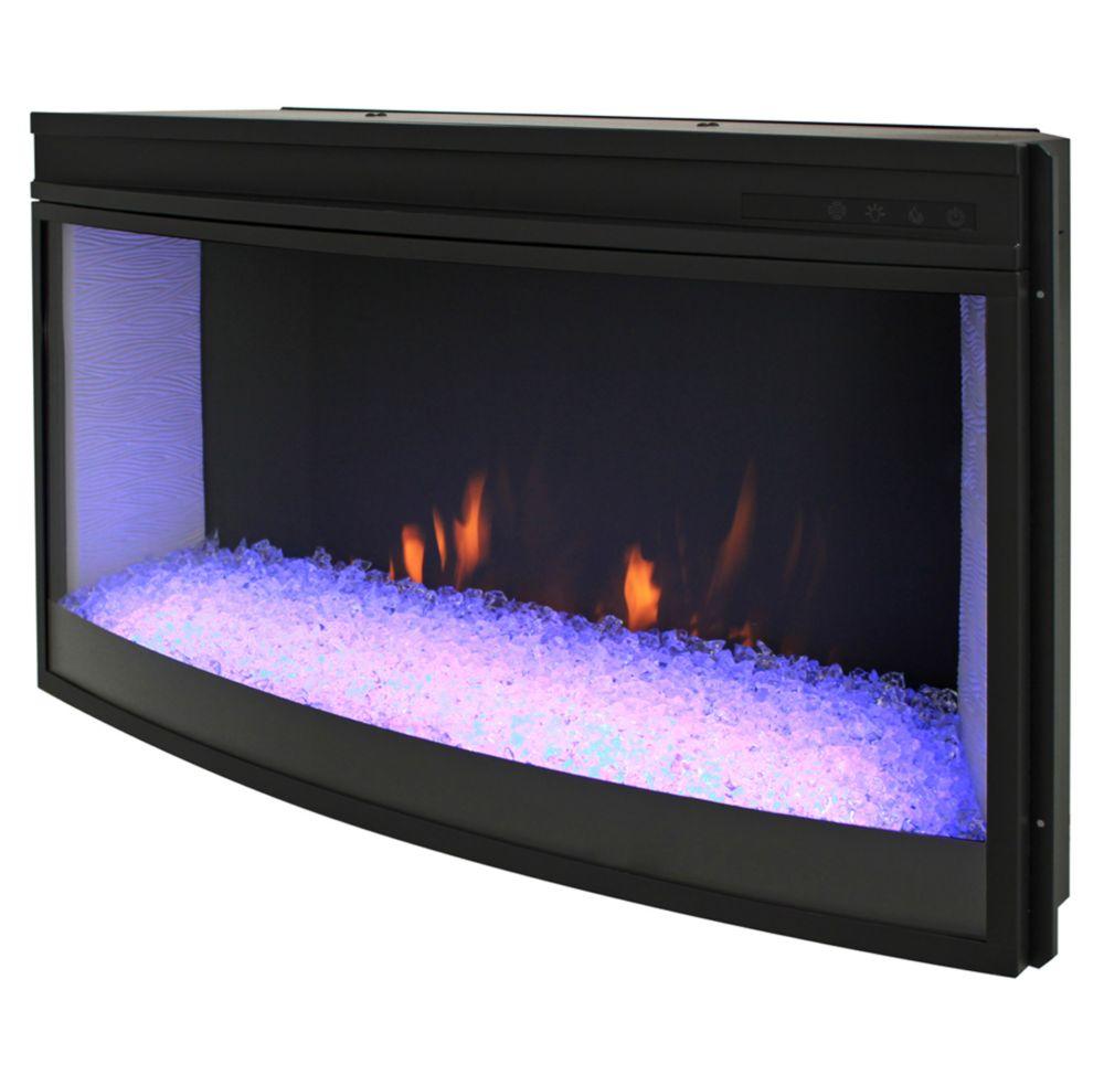 33 grand écran courbé boite a feux avec  une rotation de couleur de la base - PAS DE CHALEUR